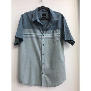 Mens Prana Blue Green Stripe Short Sleeve Top
